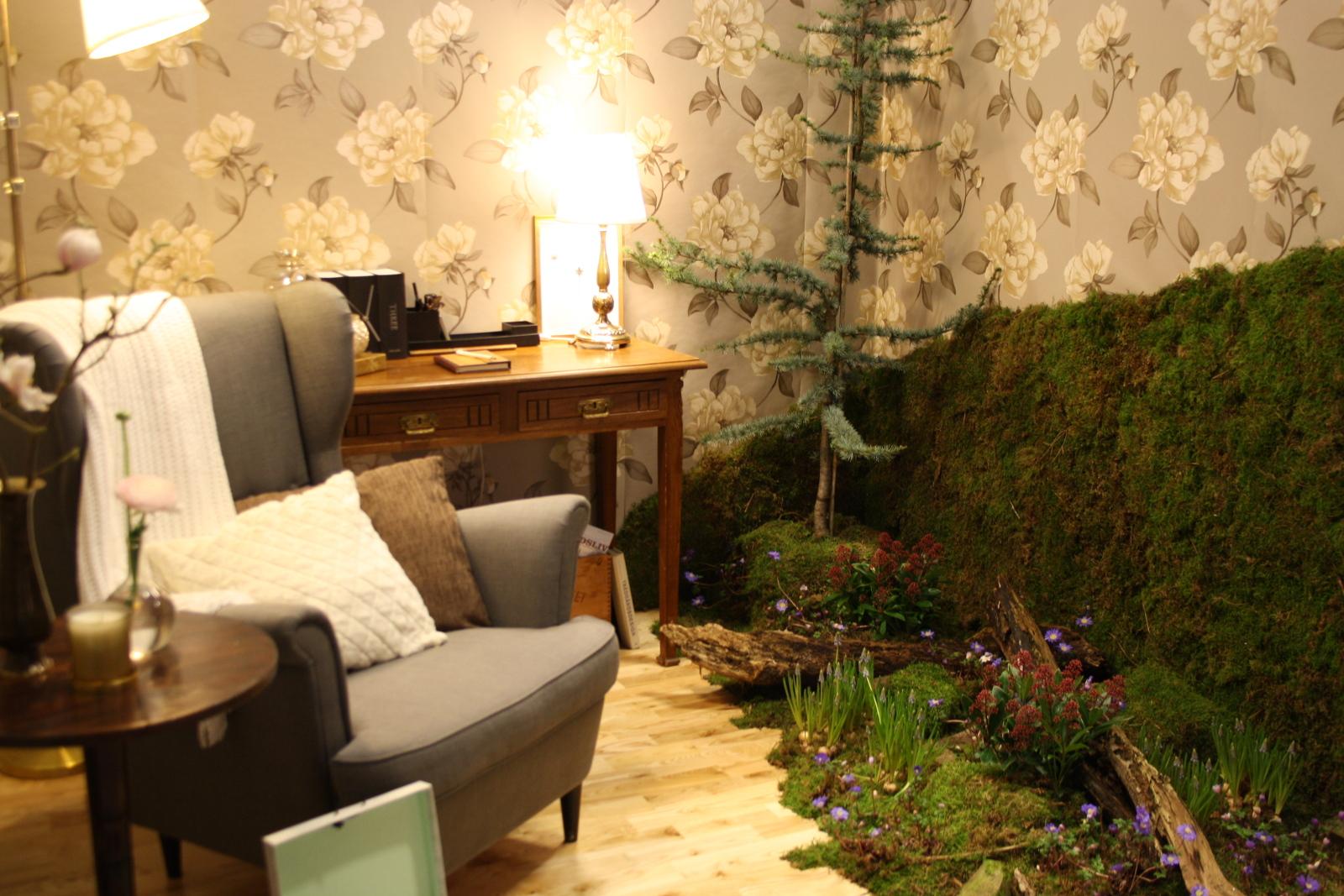 Stue med skovbund